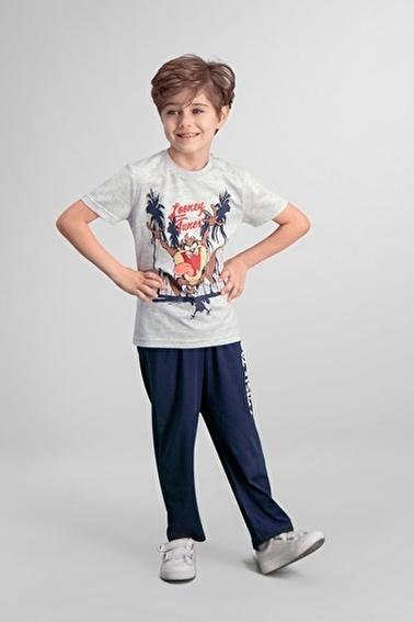 Tazmanya  Lisanslı Sarı Erkek Çocuk Pijama Takımı Gri